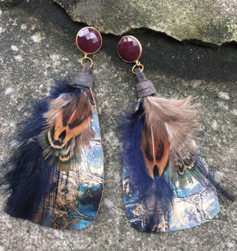 burnmark Feather Earrings, Ruby & Metallic Gold