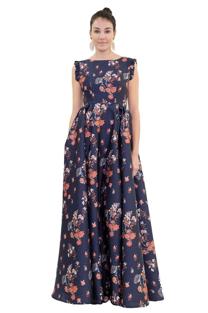 Isabel Garcia Floor Length Navy Floral Dress