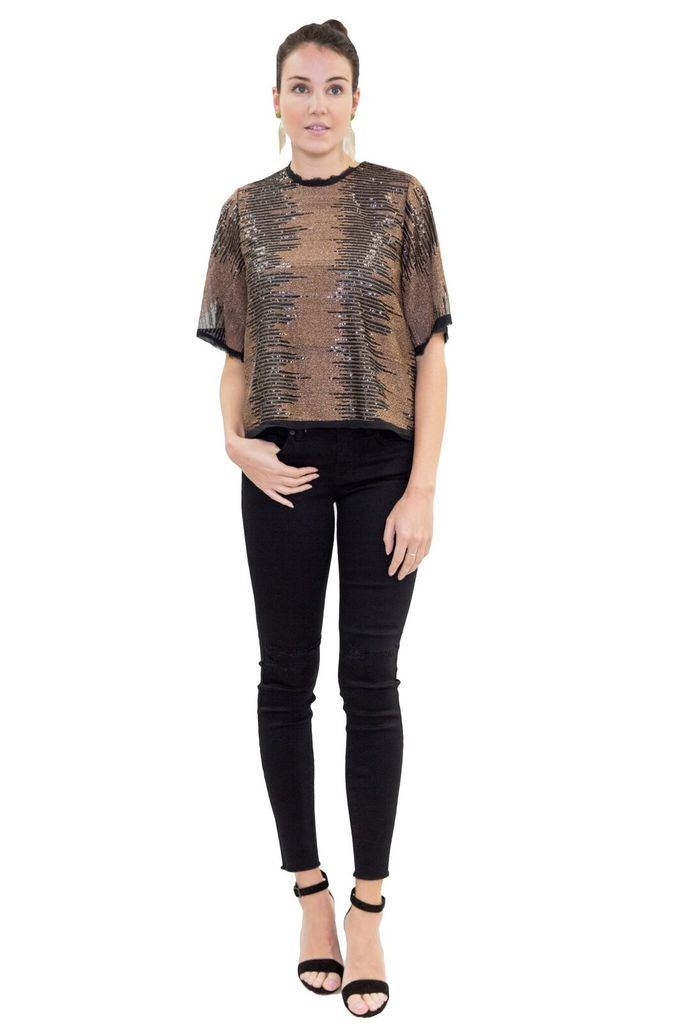 Hunter Bell Fawn Top in Golden and Onyx Sequin