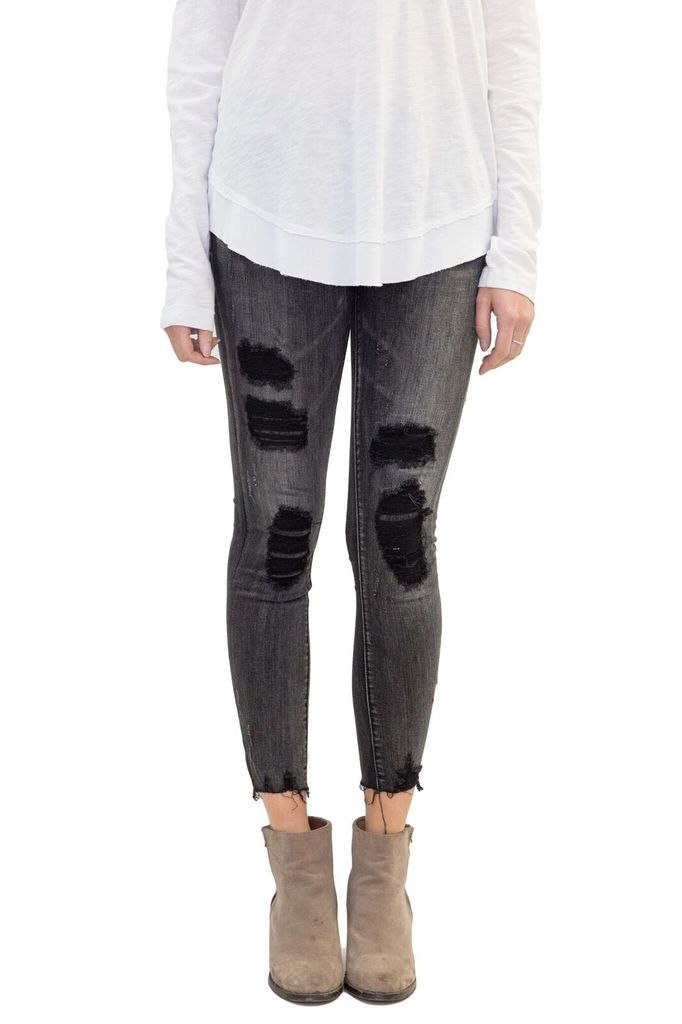 BlankNYC Shadow Chaser Washed Black Destroyed Jeans