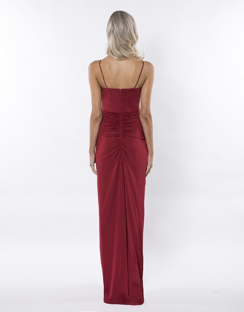 Bariano Memories V-Neck Draped Gown