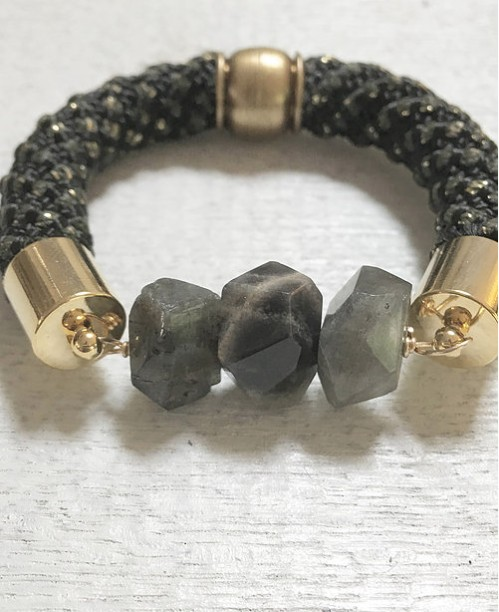 Little Fish Boateak Pinkies Up Cuff on Black and Gold Rope with Labradorite