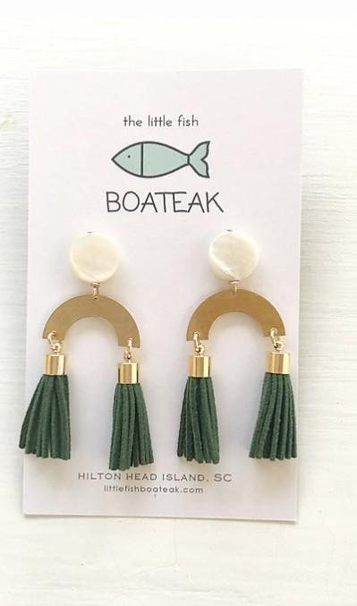 Little Fish Boateak Deco Earring in Green