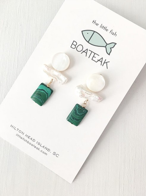 Little Fish Boateak Debutante Earrings in Malachite