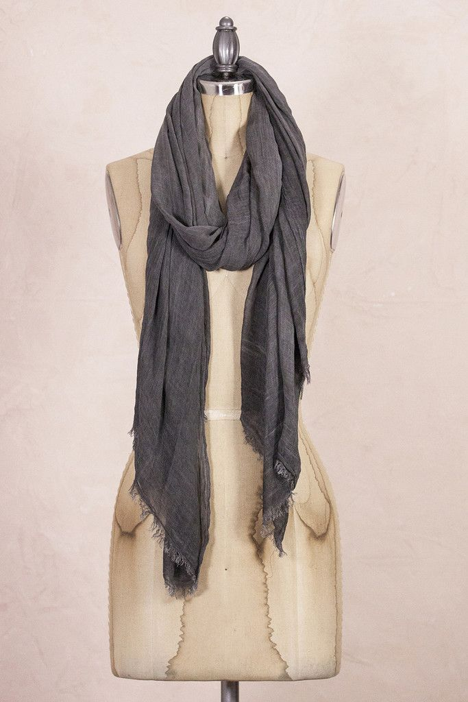 Look By M Antique Charcoal Long Scarf 100% Cotton