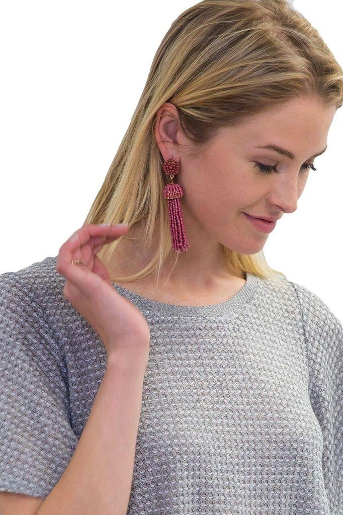 Golden Stella Big bead Tassel Earrings