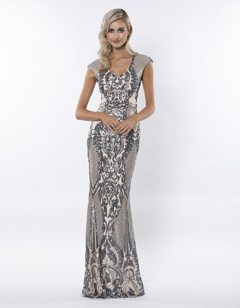 Bariano Stay Beautiful Pattern Sequin Gown