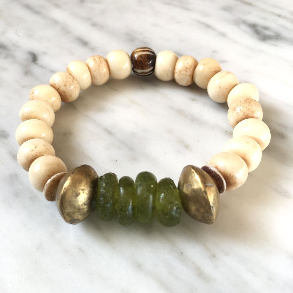 burnmark Ghana Glass Bracelet in Forest Green and Nigerian Brass