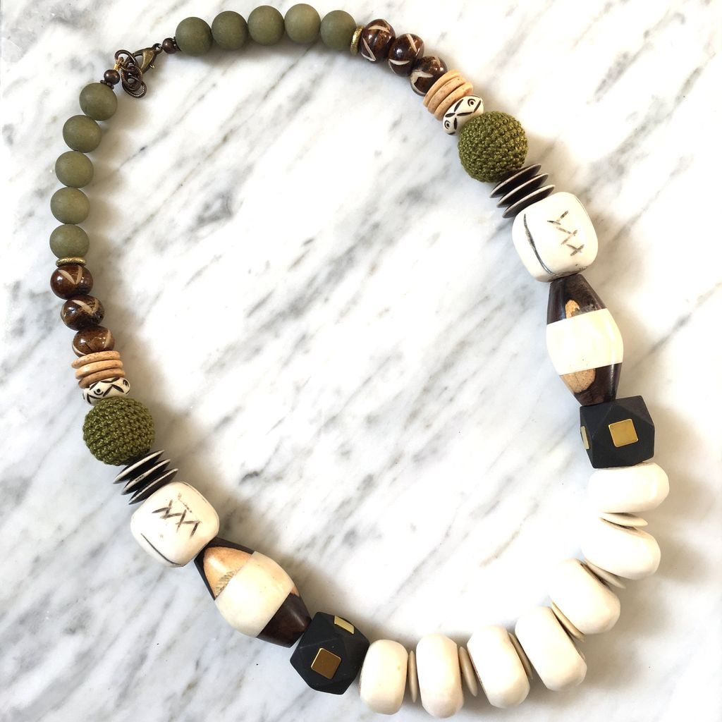 burnmark Leroy Necklace with Matte Olive and Batik