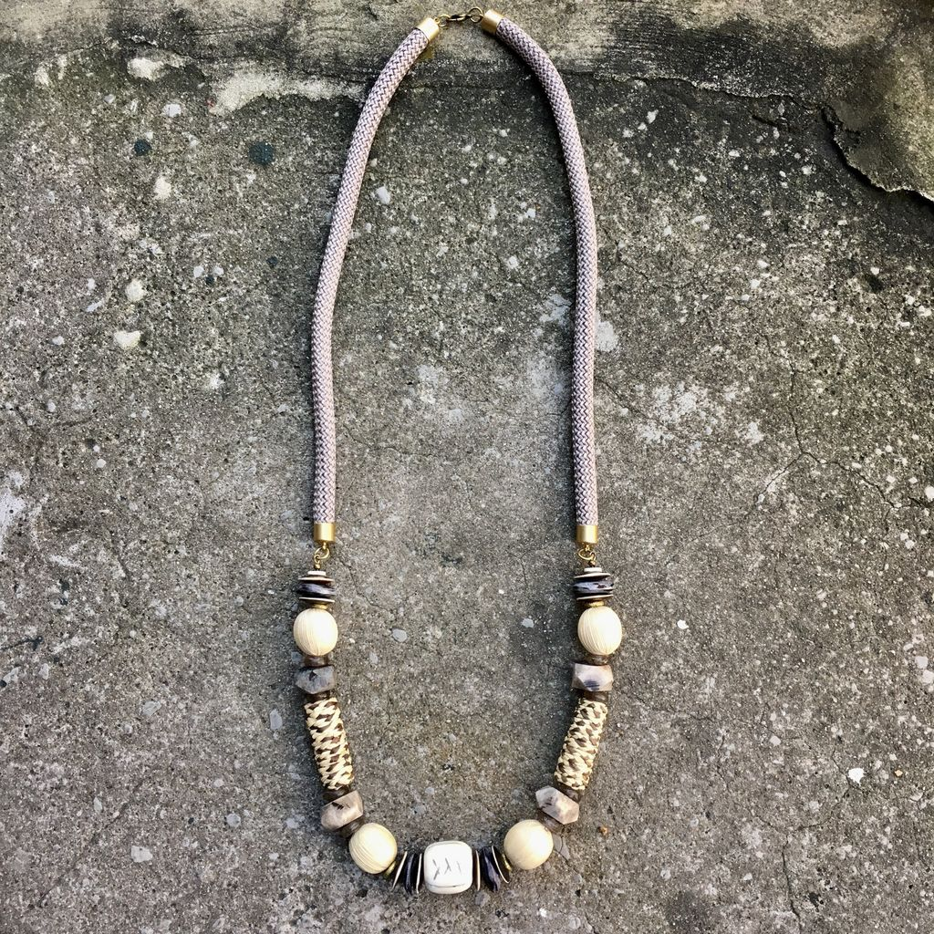 burnmark Long Leroy Necklace in Grey and Raffia