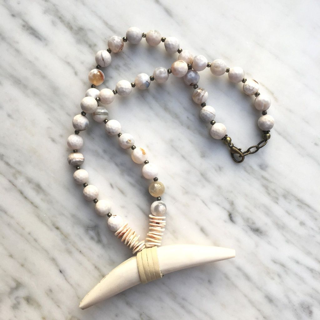 burnmark Charles Necklace in Agate and Pyrite