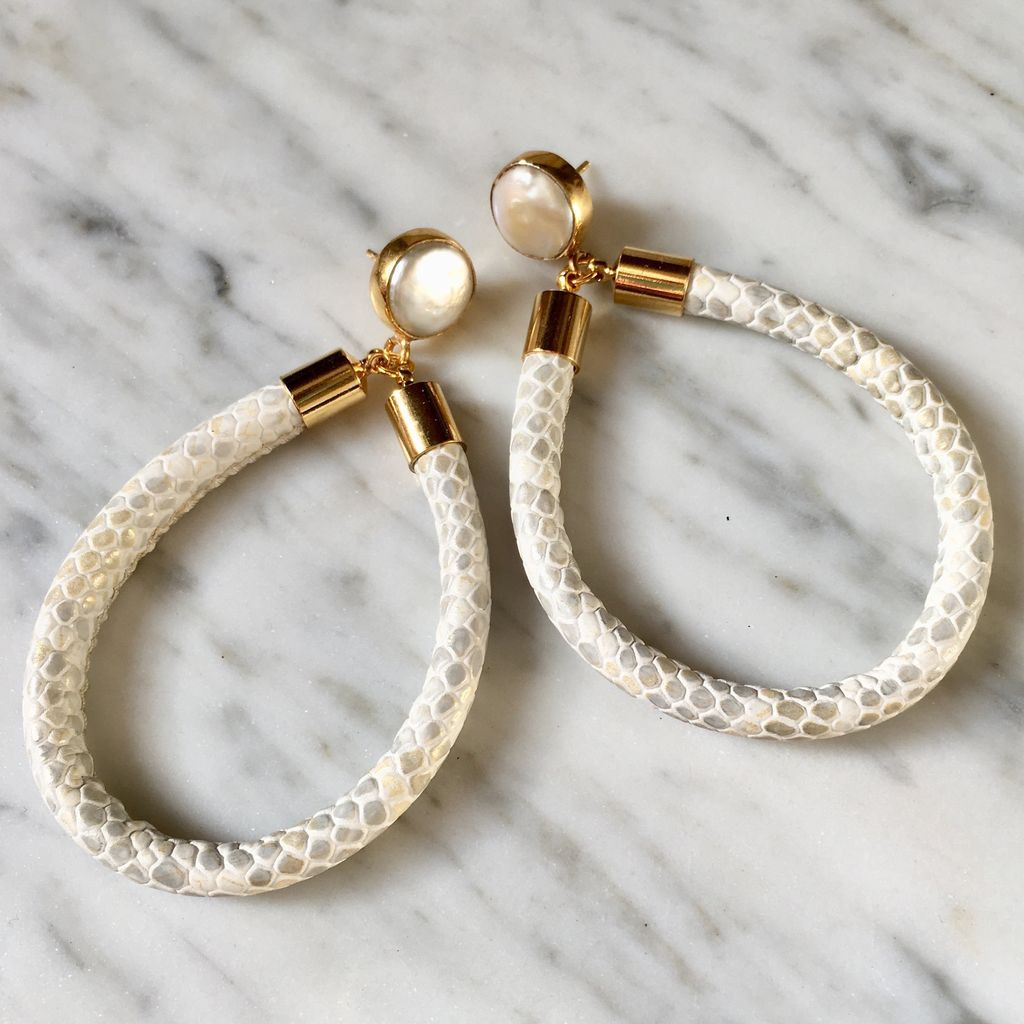 burnmark Hoop Earrings in Python and Pearl