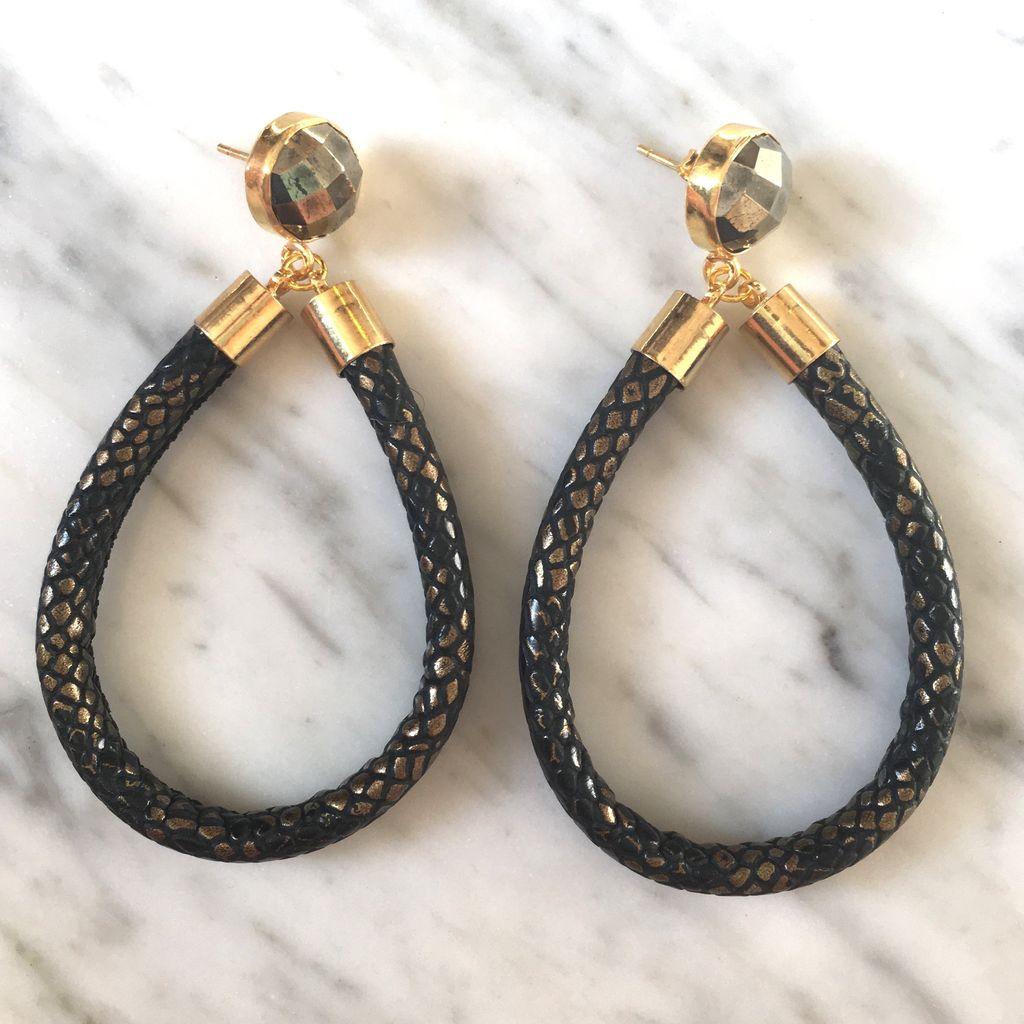 burnmark Python Hoop Earrings in Metallic and Pyrite