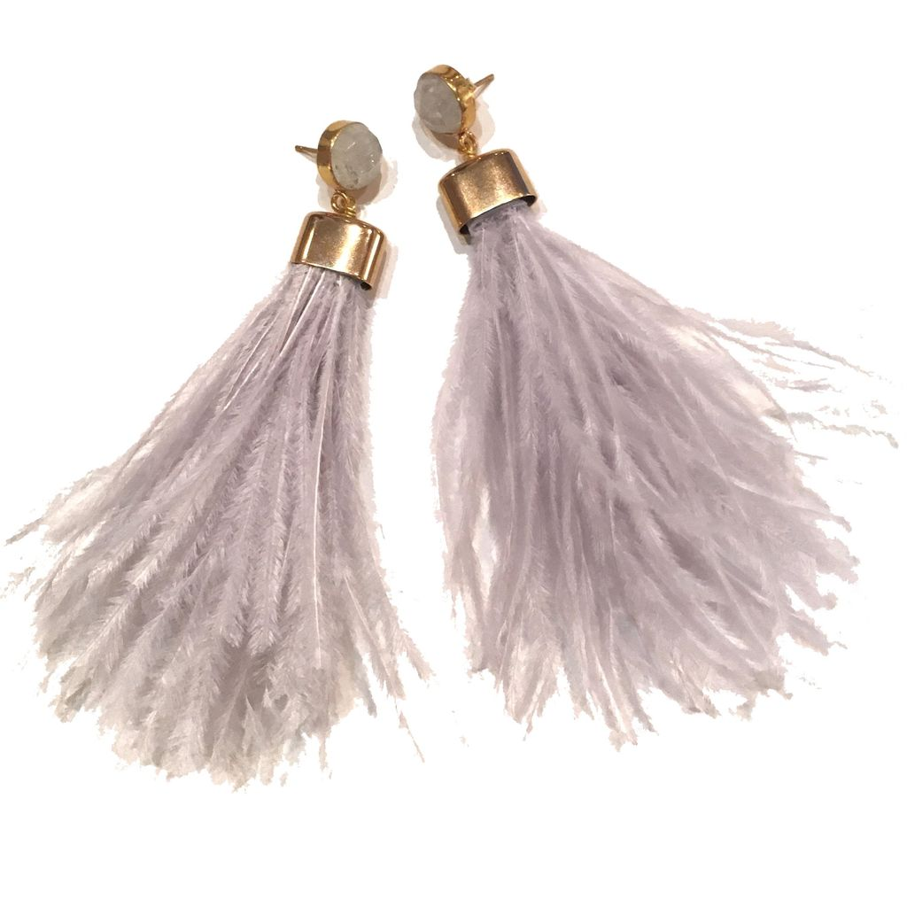 burnmark Ostrich Feather Earrings in Pale Grey and Moonstone