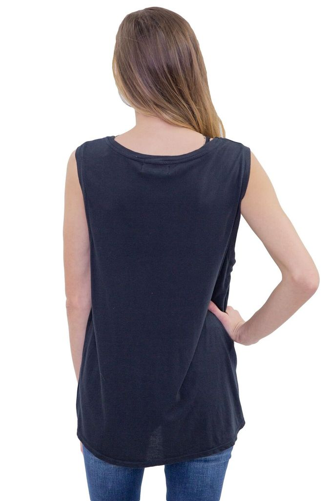 SAM & LAVI Nala Washed Black Cotton Tank