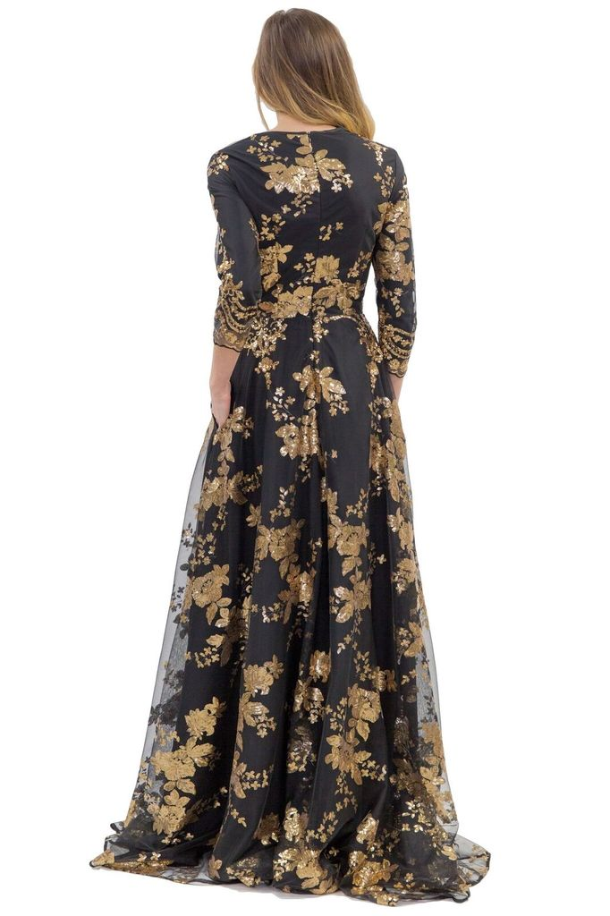 Isabel Garcia Black with gold sequins long dress