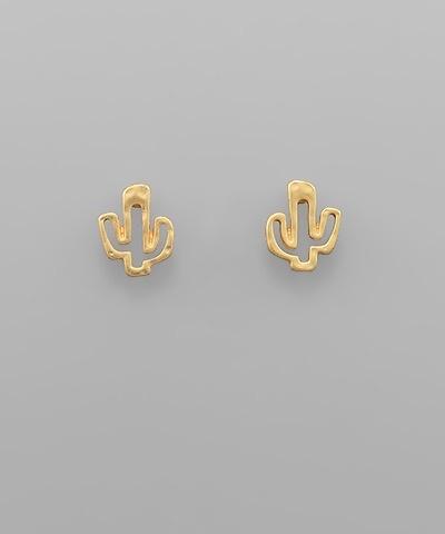 Golden Stella Cactus Studs, Gold