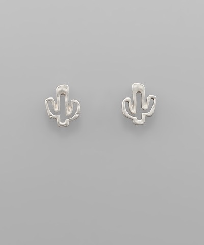 Golden Stella Cactus Studs, Silver
