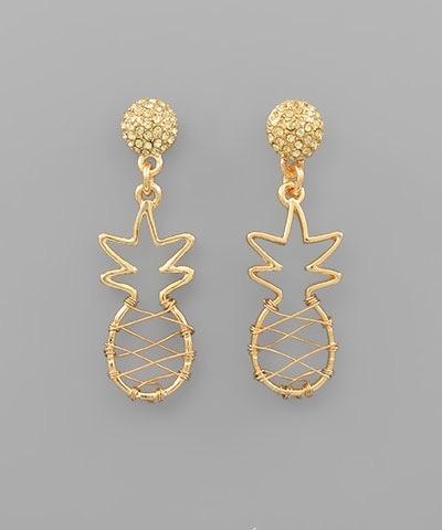 Golden Stella Pineapple Earrings