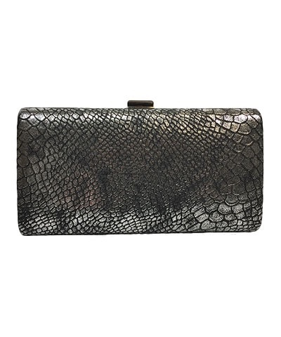 Golden Stella Metallic Snake Skin Clutch, Silver and Black