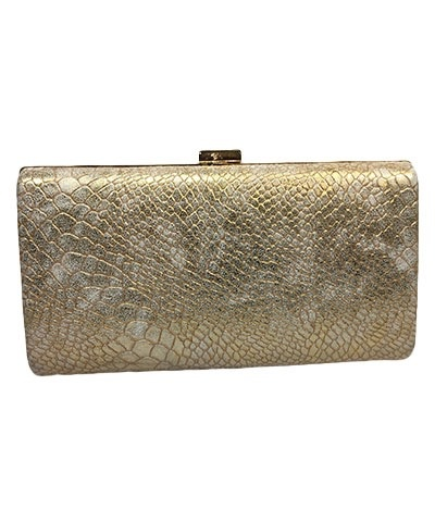 Golden Stella Metallic Snake Skin Clutch, Gold