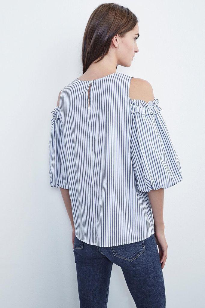 Velvet Women Bruna Cotton Stripe Cold Shoulder Blouse