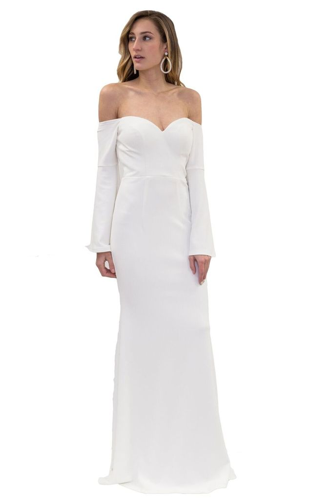 Bariano Cleopatra Crepe Bell Sleeve White Gown