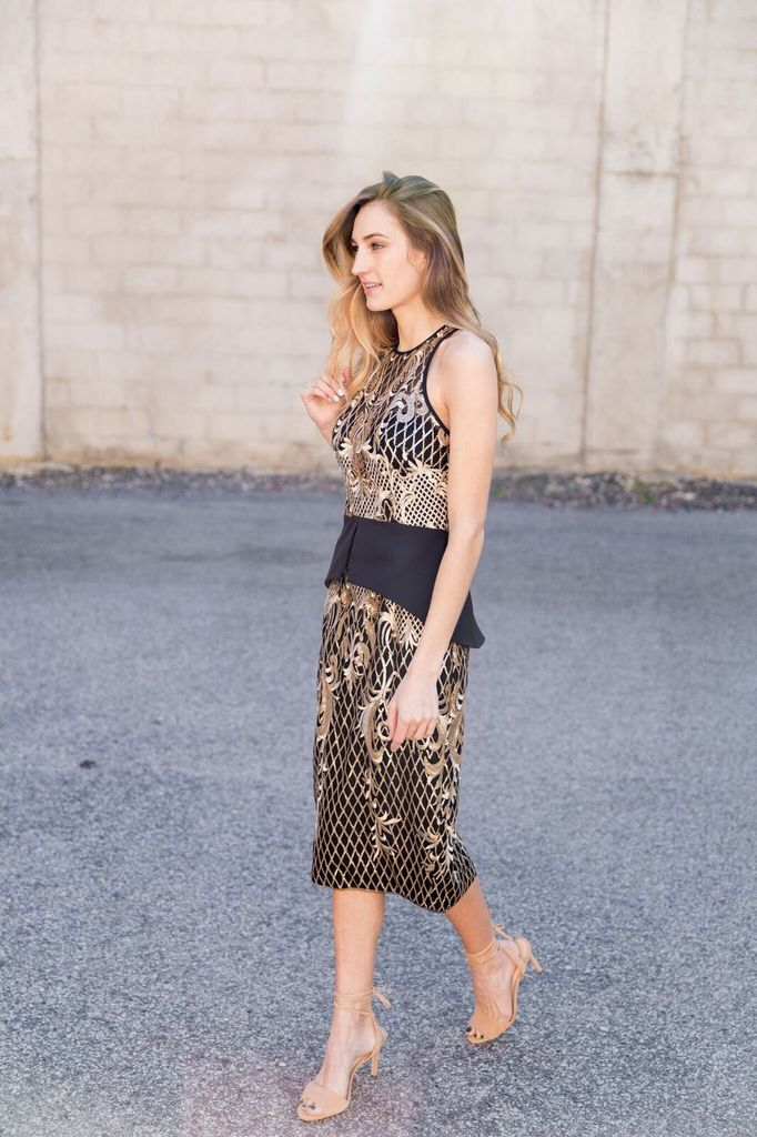 Bariano Anne Sequin Lace Racer Neck Black and Gold Midi