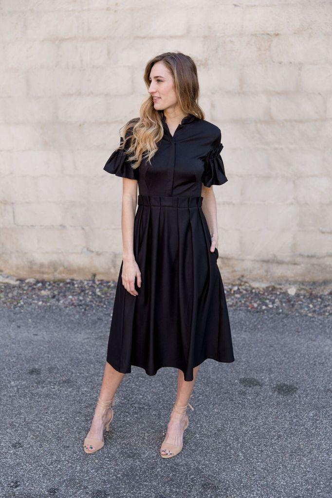 Isabel Garcia Black pleated bottom dress