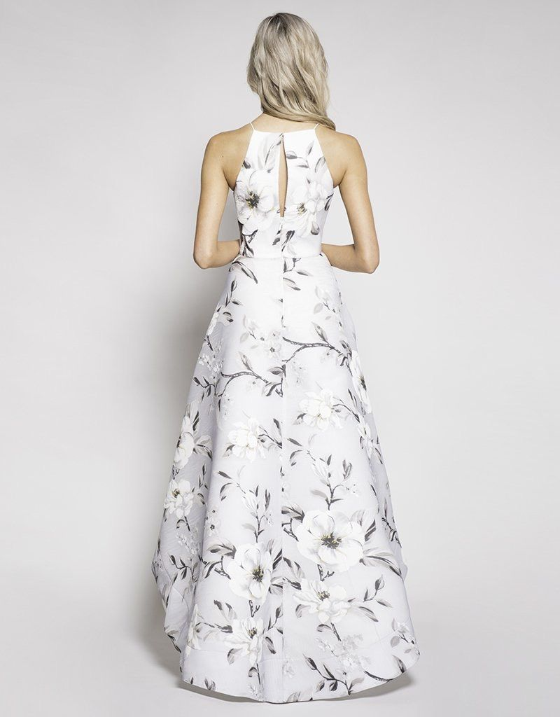 Bariano Marlene Mesh High Neck Gown, Floral Print