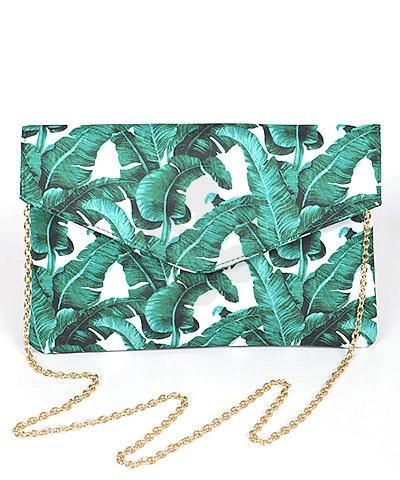 Golden Stella Leaf Print Envelpe Clutch/Crossbody