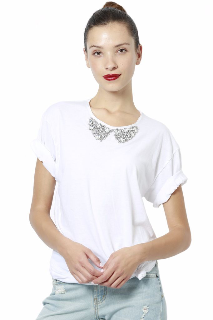 JET Diamond Neck White T