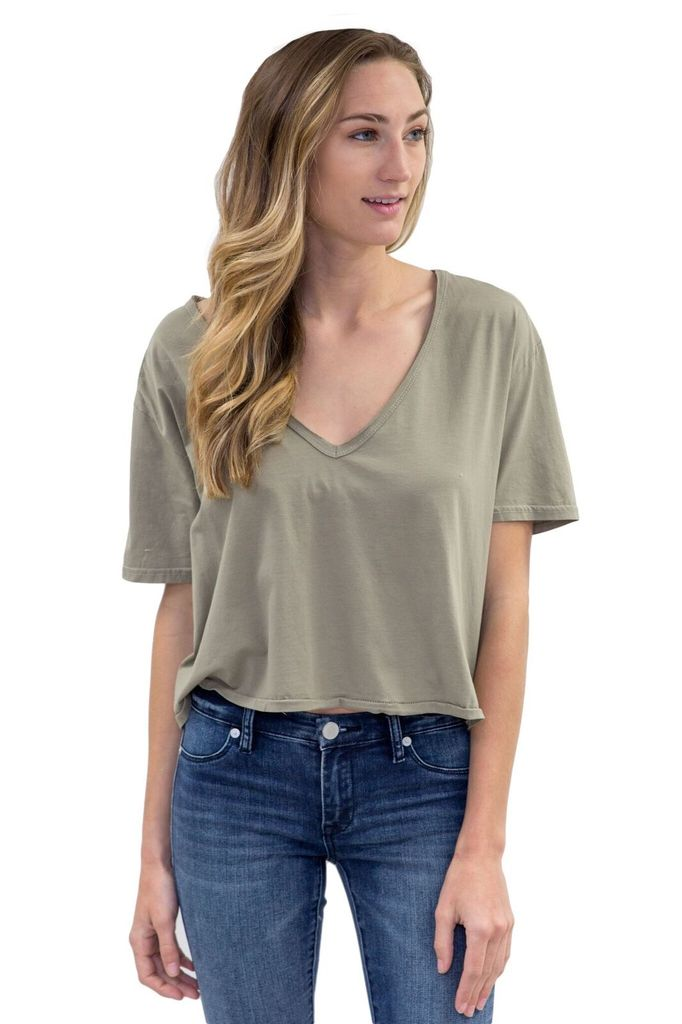 ONE Teaspoon Supima Cotton Deep V Crop Tee
