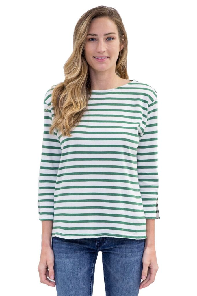 Velvet Women Striped boat neck tee