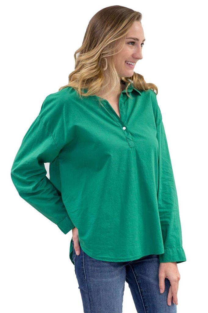 Velvet Women Green Popover Shirt