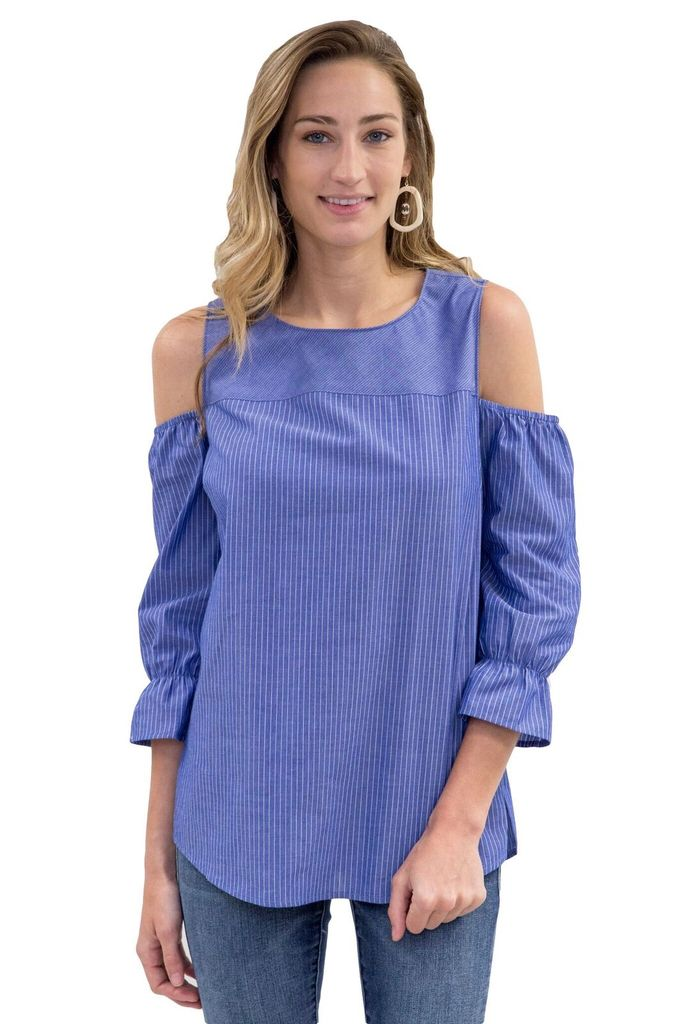 OST Eva Cold Shoulder Striped Popover