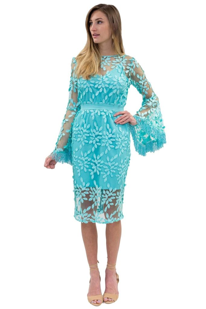 Forever Unique Ariel Aqua Bell Sleeve Dress