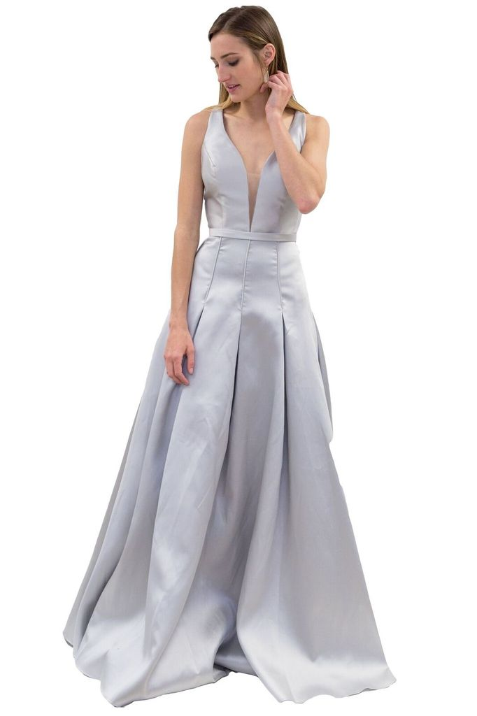 Forever Unique Liberty Long Grey Dress
