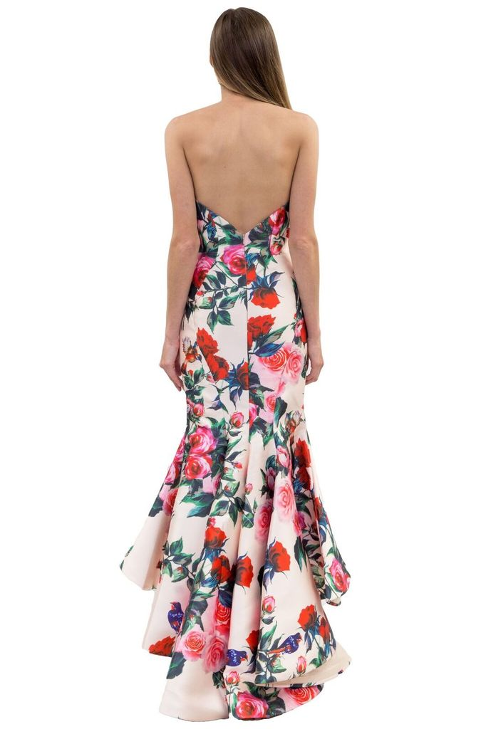Forever Unique Peggy Strapless Rose Print Dress