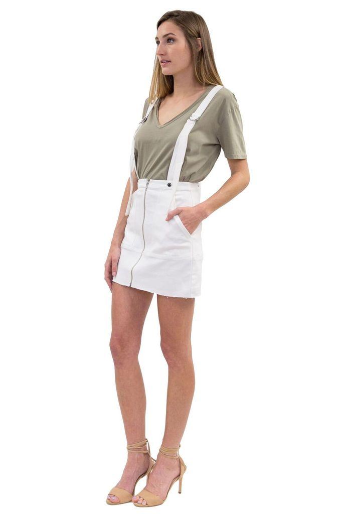 For Love & Lemons Monika Overalls Mini Skirt in White Denim