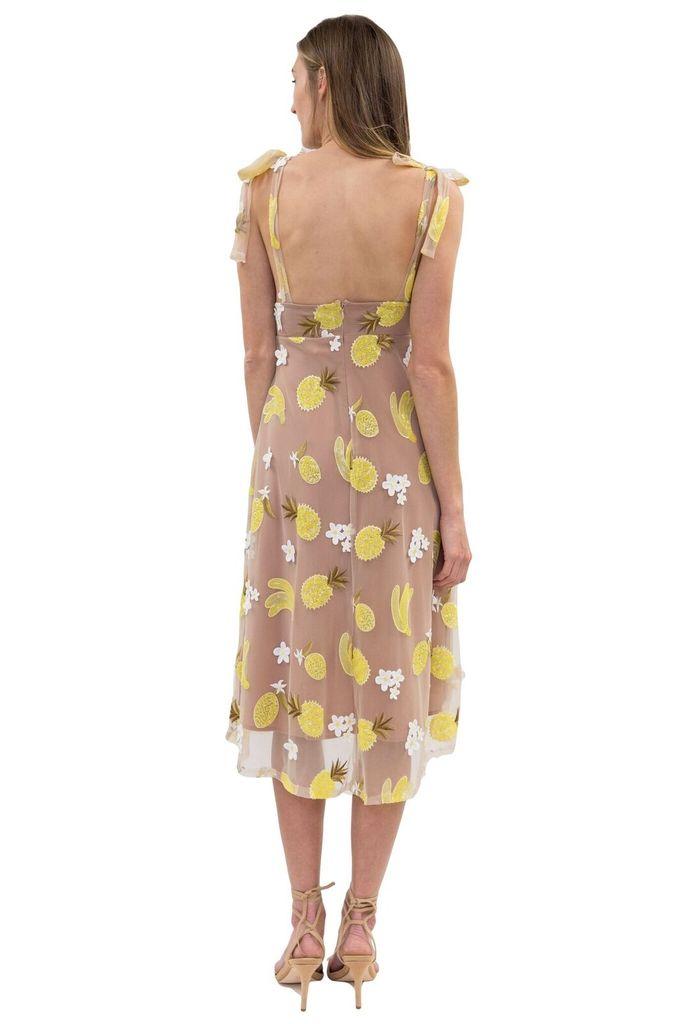 For Love & Lemons Fruitpunch Sequin Midi Dress in Pineapple