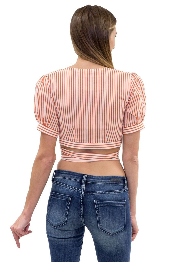 For Love & Lemons Selma Wrap Top in Copper Stripe