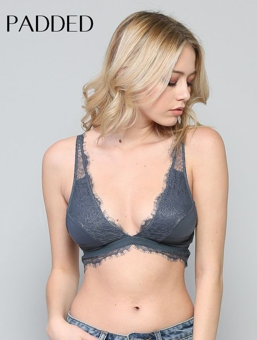 By Together V neck plunge lace trim cami w/ padding