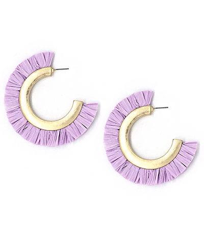 Golden Stella Raffia Hoop Earrings, Lavender