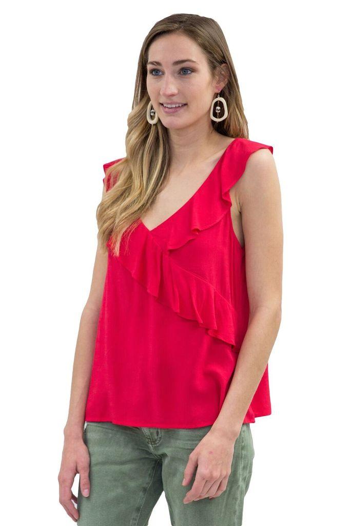 Velvet Women S/S Ruffle Red Tank Top