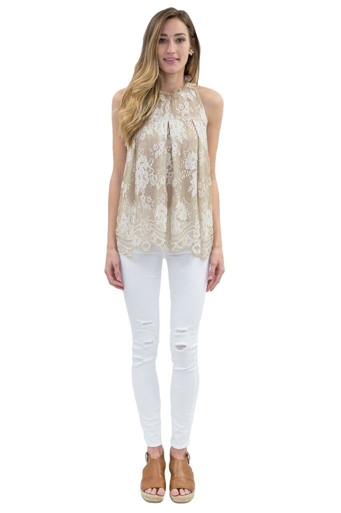 SEE YOU SOON Beige Lace Top