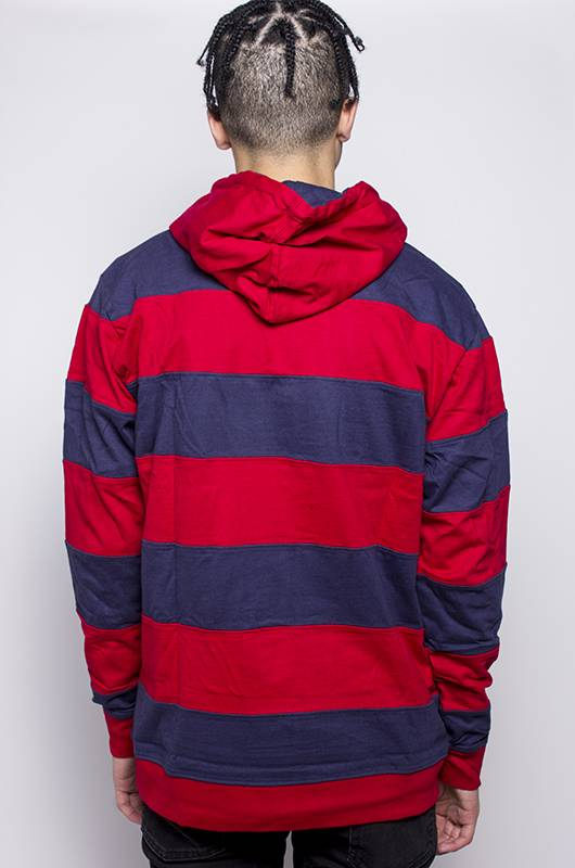 Stussy Stussy HOODED STRIPE RUGBY Red