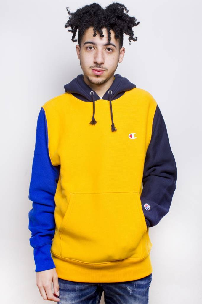Champion Champion Colorblock Hoodie Gold/Navy