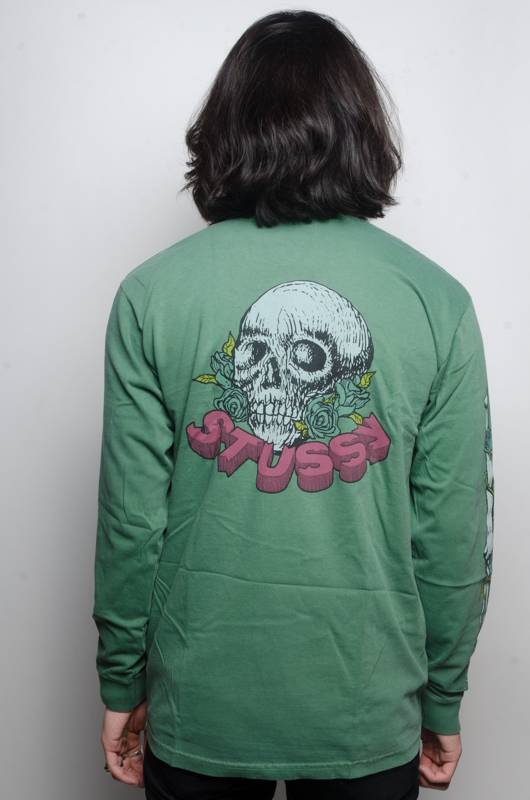 Stussy Stussy Skull Roses LS Tee Green