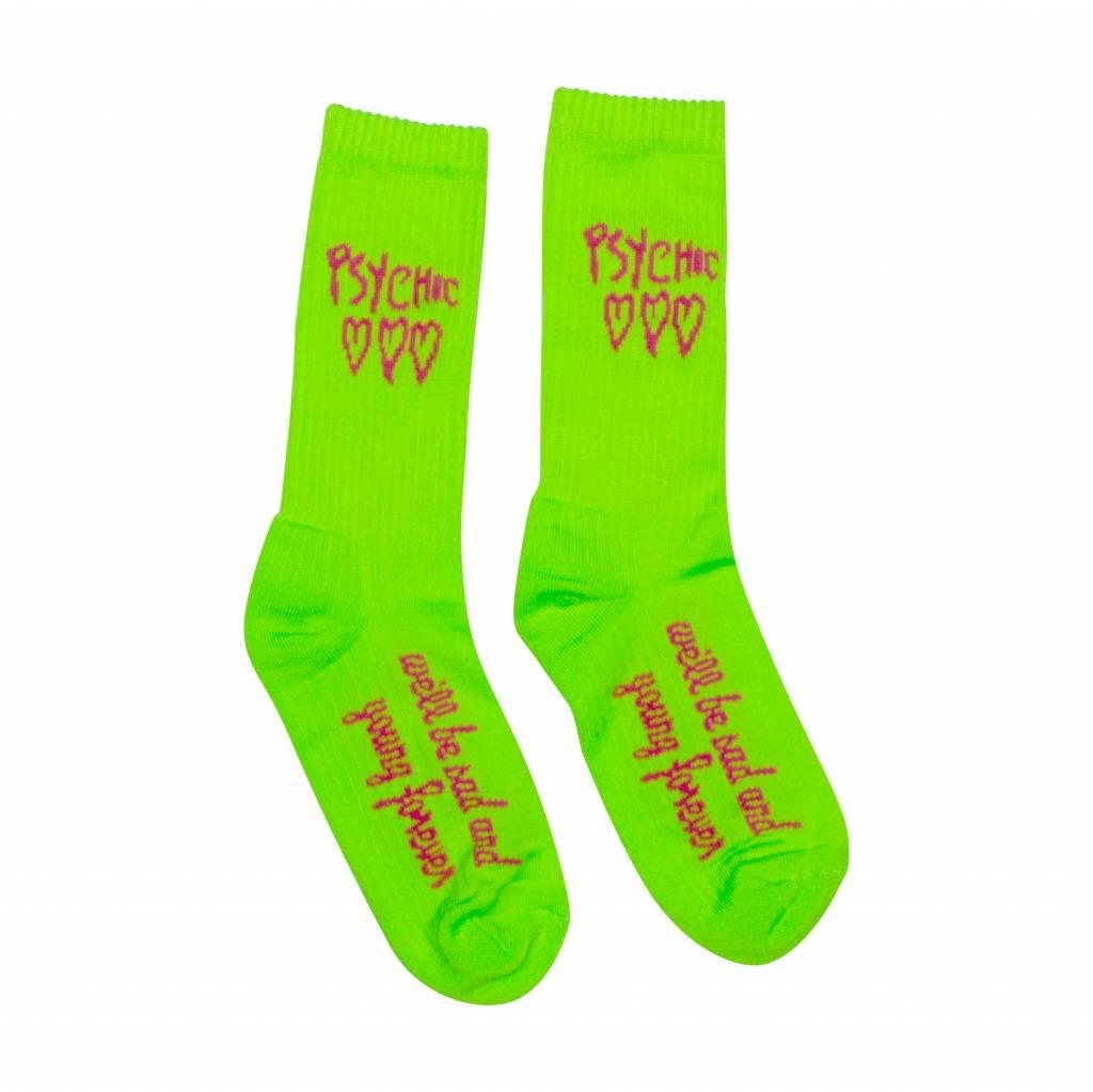 Psychic Hearts Psychic Hearts Logo Socks Lime